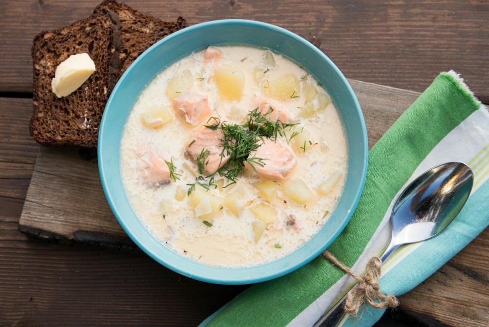 Fischsuppe im Restaurant Vihiluodon
