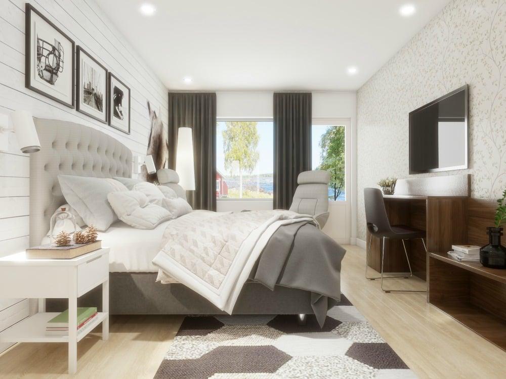Moderne und luxuriöse Zimmer im neuen Hotel Kukkolaforsen.