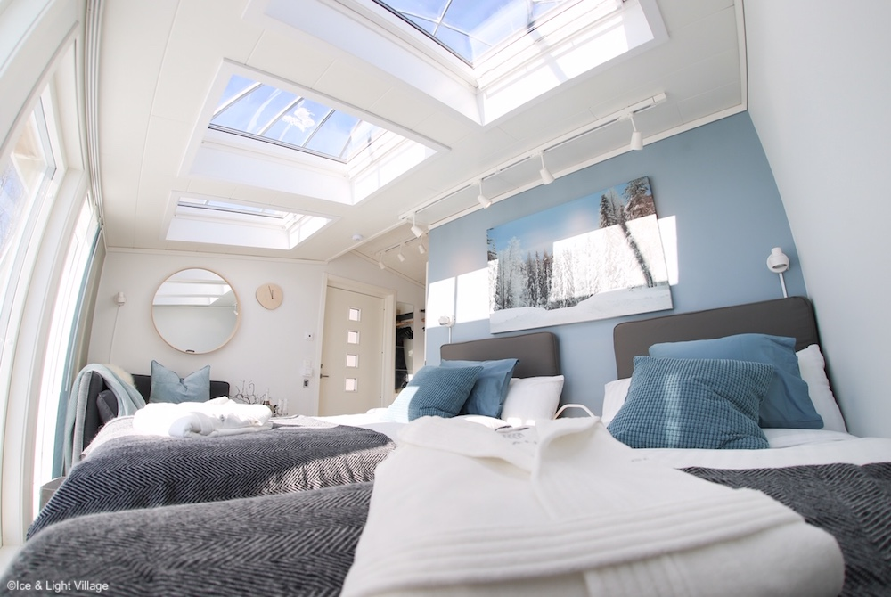 Schlafzimmer eines Iglus im Ice & Light Village