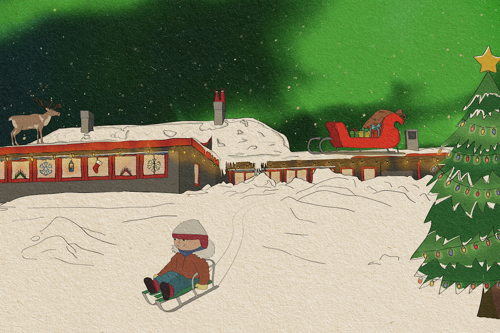Illustration Skihütte des Weihnachtsmanns